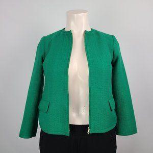 Talbots Green Tweed Zip Up Jacket Size 16